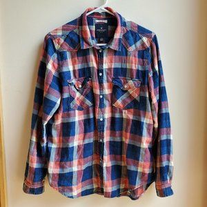 American Eagle Outfitters Plaid Snap Down Shirt L